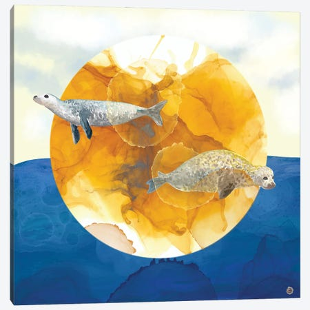 Solar Seals - A Midsummer Night's Surreal Dream Canvas Print #AEE43} by Andreea Dumez Canvas Wall Art
