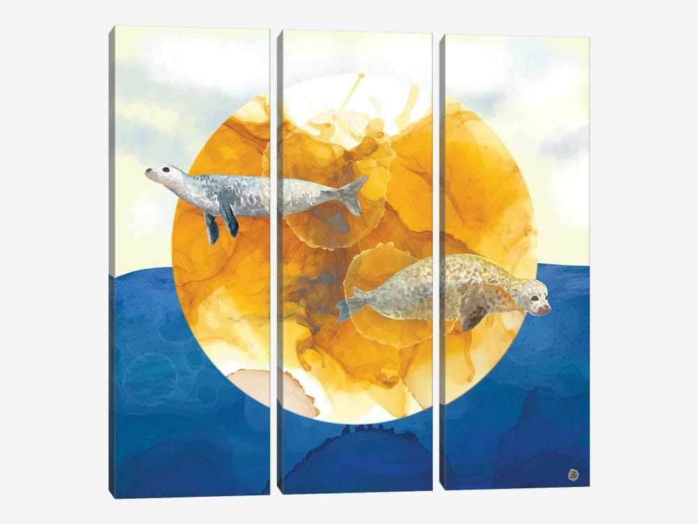 Solar Seals - A Midsummer Night's Surreal Dream by Andreea Dumez 3-piece Canvas Print