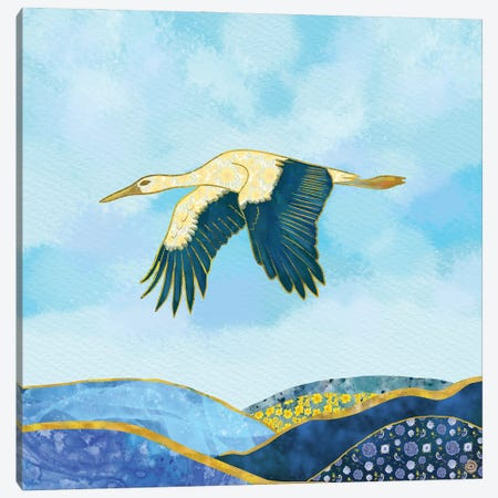 Stork In Flight Canvas Print #AEE44} by Andreea Dumez Canvas Print
