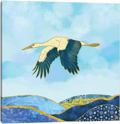 Stork In Flight Canvas Art Print