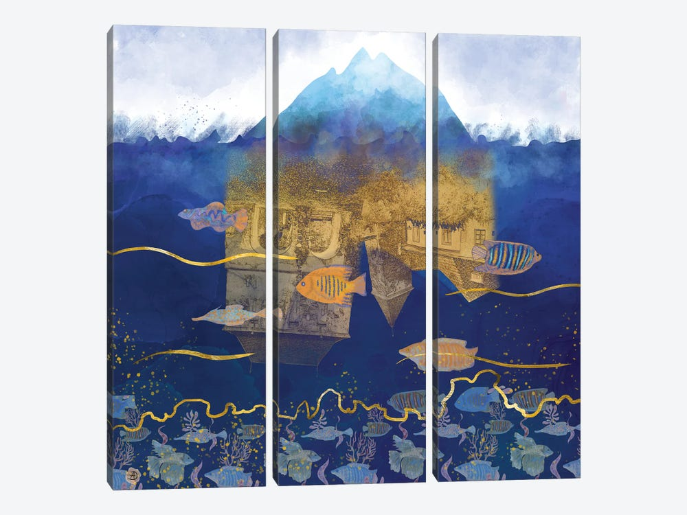Surreal City Under Water by Andreea Dumez 3-piece Canvas Print