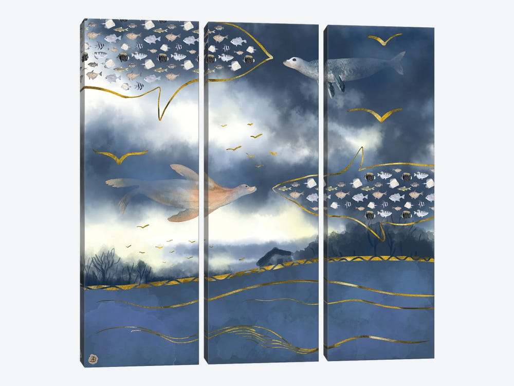 Surreal Snowstorm by Andreea Dumez 3-piece Canvas Wall Art