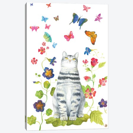Tabby Cat With Flowers And Butterflies Canvas Print #AEE47} by Andreea Dumez Canvas Art Print