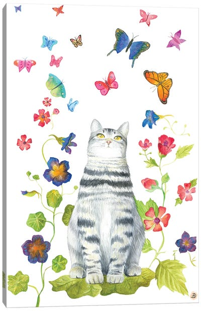 Tabby Cat With Flowers And Butterflies Canvas Art Print