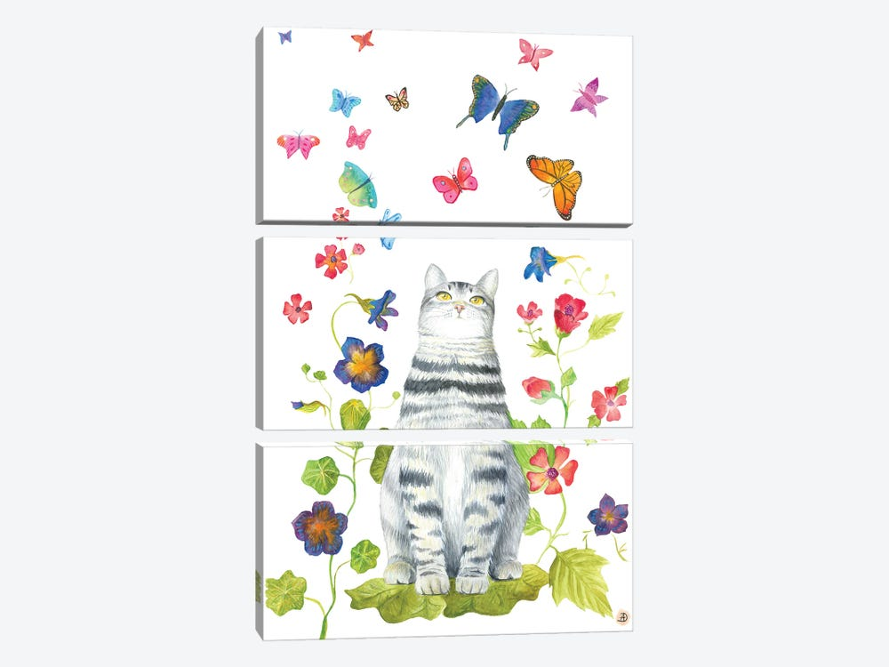 Tabby Cat With Flowers And Butterflies by Andreea Dumez 3-piece Canvas Art Print