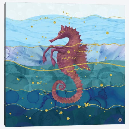 The Fantastic Seahorse In The Ocean Canvas Print #AEE48} by Andreea Dumez Canvas Wall Art