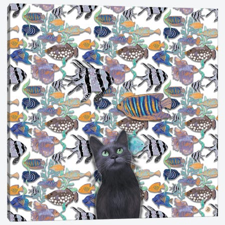 A Black Cat Looking At An Exotic Fish Tank Canvas Print #AEE4} by Andreea Dumez Art Print