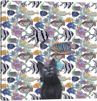 A Black Cat Looking At An Exotic Fish Tank Canvas Art Print