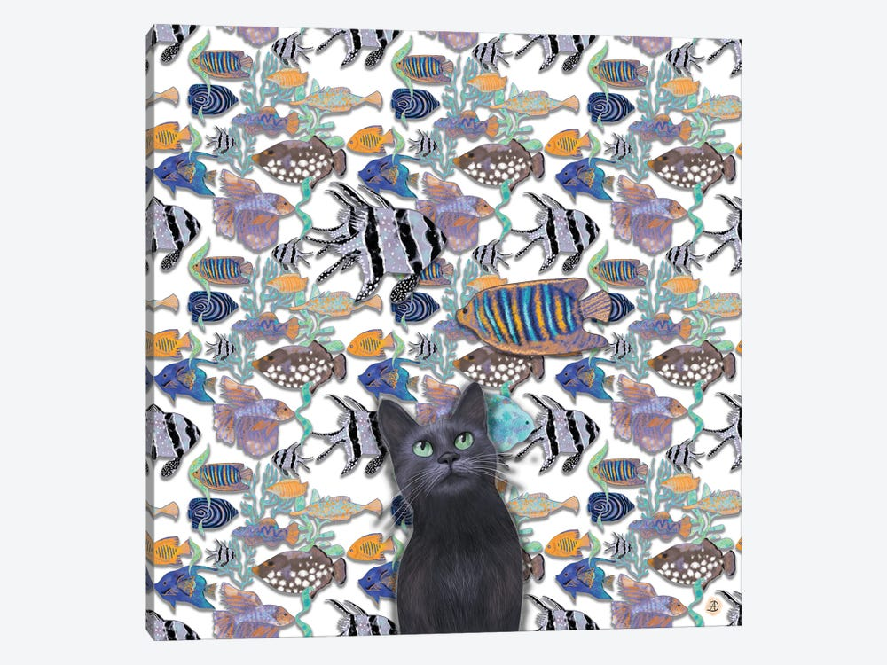 A Black Cat Looking At An Exotic Fish Tank by Andreea Dumez 1-piece Canvas Wall Art