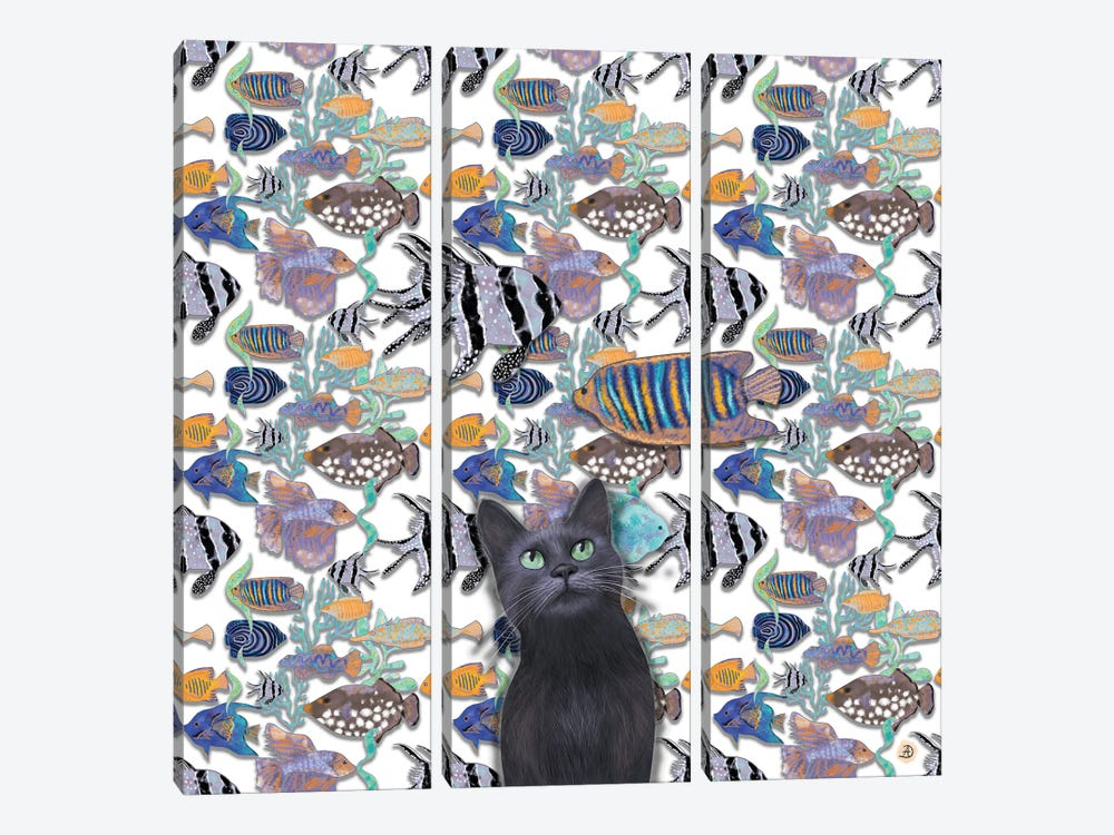 A Black Cat Looking At An Exotic Fish Tank by Andreea Dumez 3-piece Canvas Wall Art