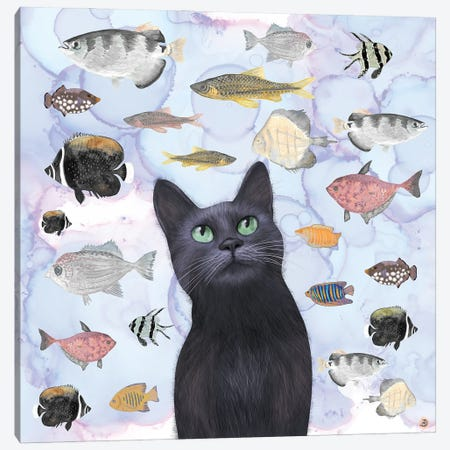 The Hungry Black Cat Gazing At A Fish Tank Canvas Print #AEE51} by Andreea Dumez Art Print