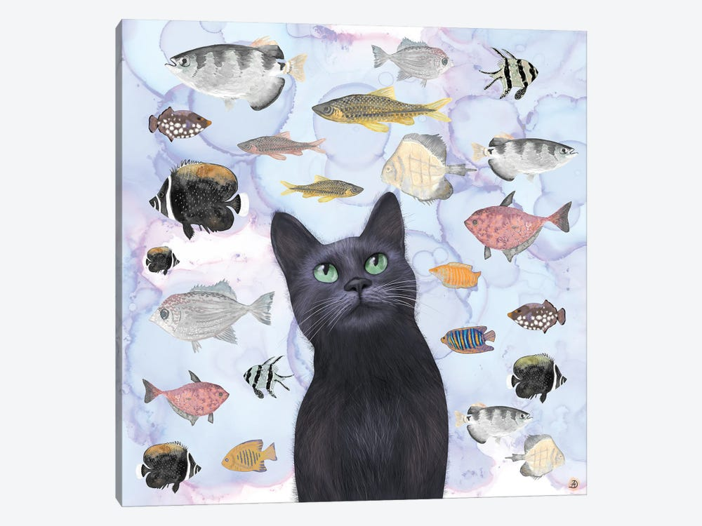 The Hungry Black Cat Gazing At A Fish Tank by Andreea Dumez 1-piece Canvas Artwork