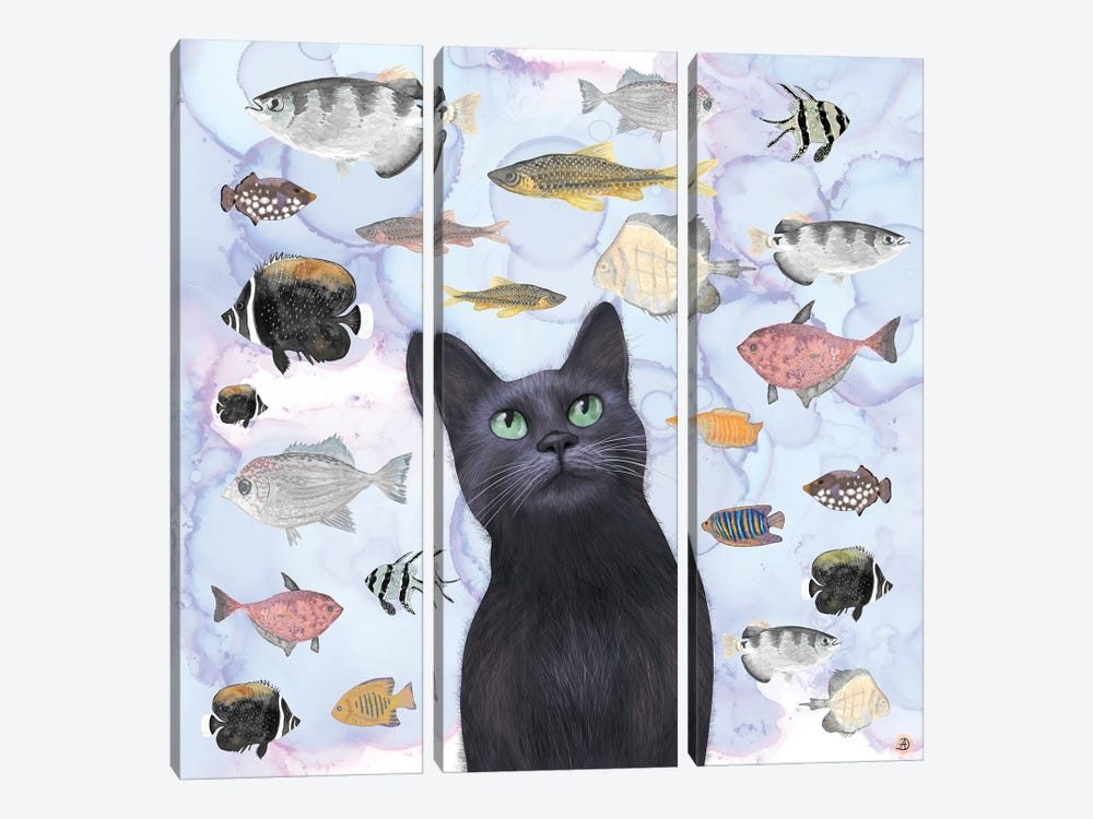 The Hungry Black Cat Gazing At A Fish Tank by Andreea Dumez 3-piece Canvas Art