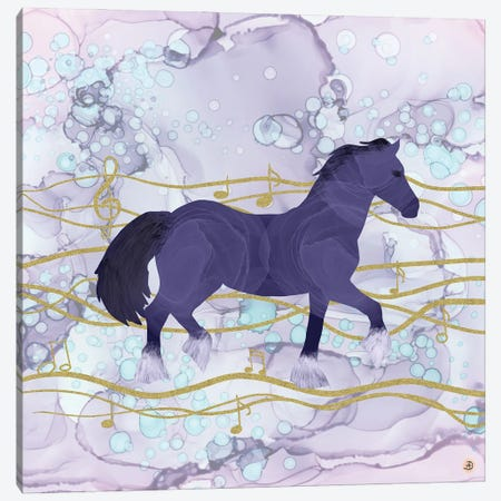 The Musical Horse Trotting Through The Rhythms Of Nature Canvas Print #AEE52} by Andreea Dumez Canvas Print
