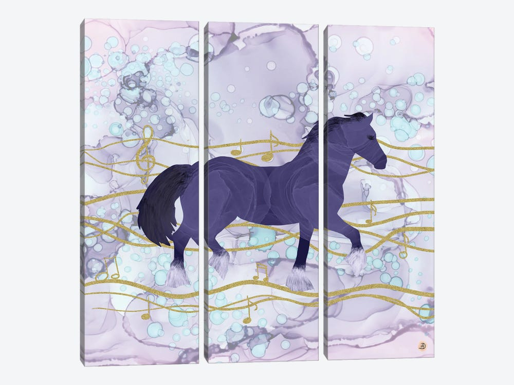The Musical Horse Trotting Through The Rhythms Of Nature by Andreea Dumez 3-piece Canvas Art Print