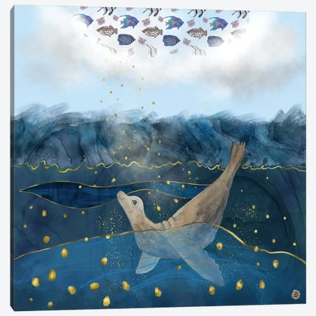 The Sea Lion's Dream - The Race For Food In Warming Oceans Canvas Print #AEE54} by Andreea Dumez Canvas Art