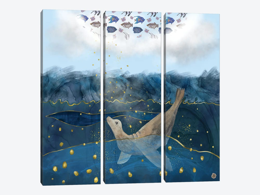 The Sea Lion's Dream - The Race For Food In Warming Oceans by Andreea Dumez 3-piece Art Print