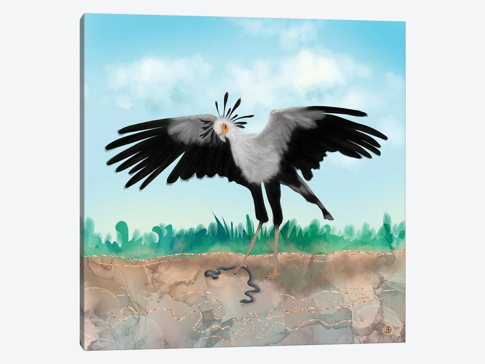 The Secretary Bird And The Snake - African Wildlife Creatures by Andreea Dumez 1-piece Canvas Art