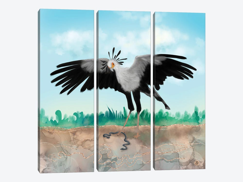 The Secretary Bird And The Snake - African Wildlife Creatures by Andreea Dumez 3-piece Canvas Artwork