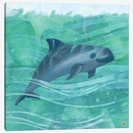 The Vaquita Porpoise Swimming In Emerald Waters Canvas Print #AEE56} by Andreea Dumez Canvas Wall Art