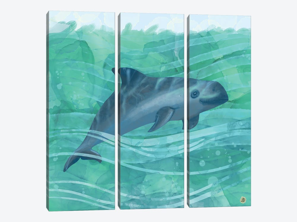 The Vaquita Porpoise Swimming In Emerald Waters by Andreea Dumez 3-piece Art Print