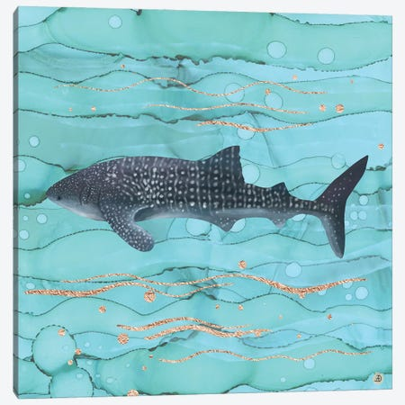Whale Shark Swimming In The Emerald Ocean Canvas Print #AEE57} by Andreea Dumez Canvas Art