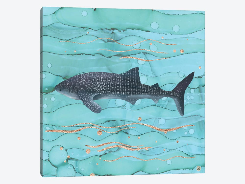 Whale Shark Swimming In The Emerald Ocean by Andreea Dumez 1-piece Canvas Wall Art