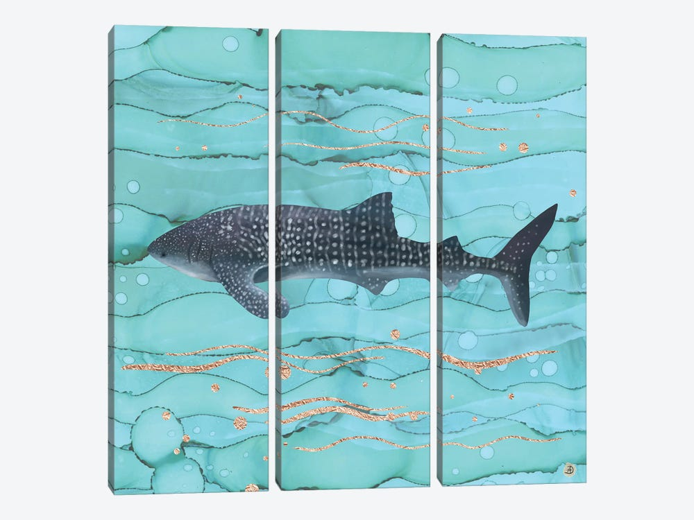 Whale Shark Swimming In The Emerald Ocean by Andreea Dumez 3-piece Canvas Wall Art