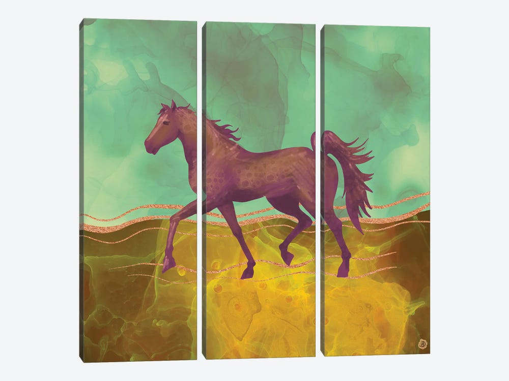 Wild Horse In The Burning Desert by Andreea Dumez 3-piece Canvas Art Print