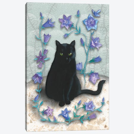 Black Cat With Bellflowers I Canvas Print #AEE5} by Andreea Dumez Canvas Art Print