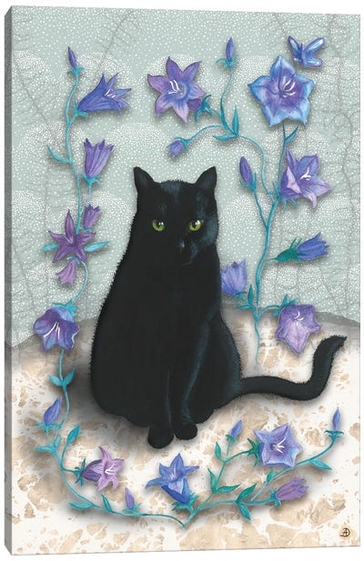 Black Cat With Bellflowers I Canvas Art Print