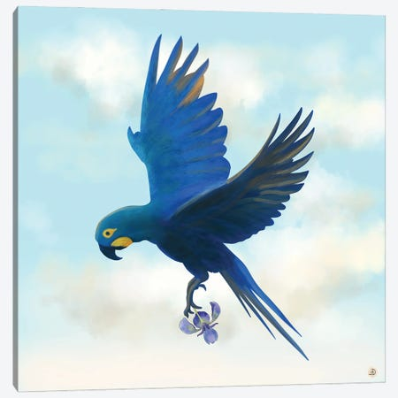 Lear's Macaw Bird Flying With An Orchid Flower Canvas Print #AEE62} by Andreea Dumez Canvas Wall Art