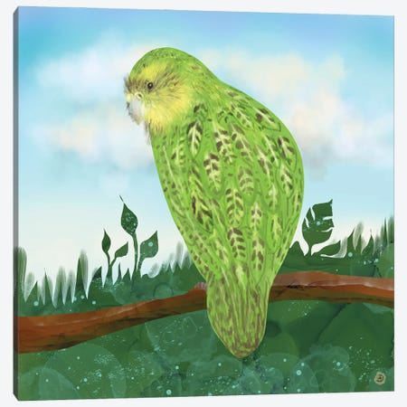 Kakapo Exotic Bird On A Branch Canvas Print #AEE63} by Andreea Dumez Canvas Art