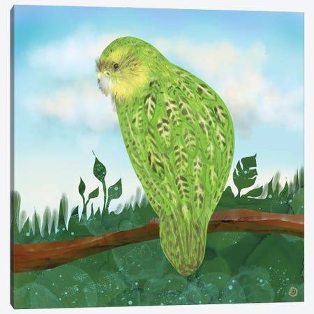 Kakapo Exotic Bird On A Branch Canvas Print #AEE63} by Andreea Dumez Canvas Art