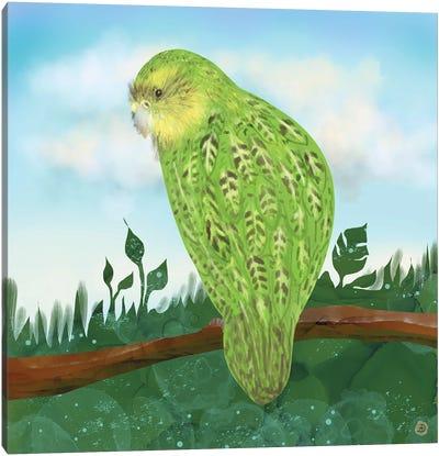 Kakapo Exotic Bird On A Branch Canvas Art Print