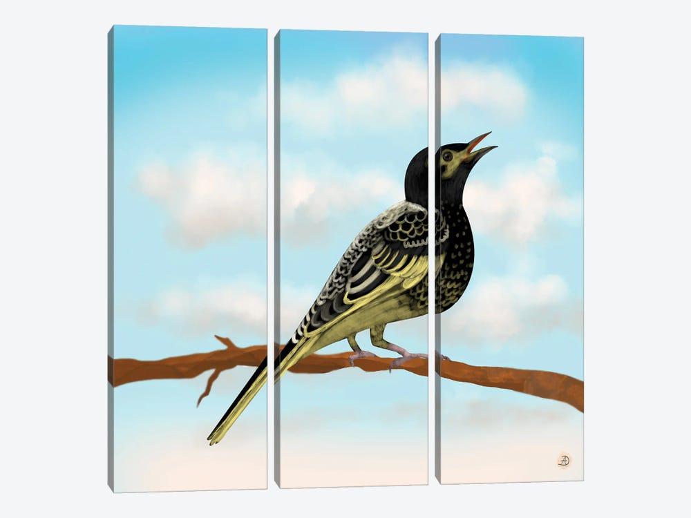 Regent Honeyeater - Australian Rare Bird by Andreea Dumez 3-piece Canvas Print