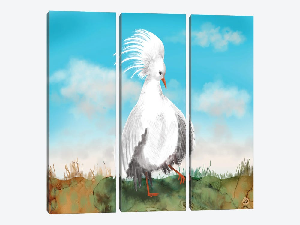 Kagu Bird Of New Caledonia by Andreea Dumez 3-piece Canvas Artwork