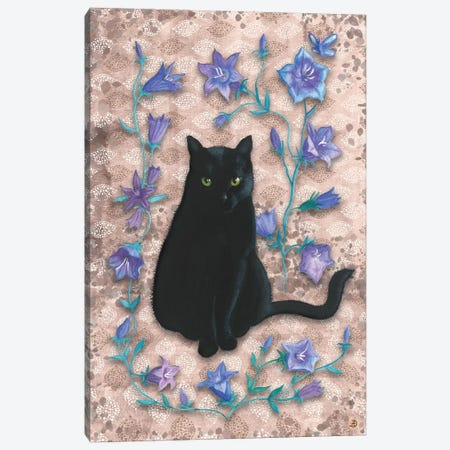 Black Cat With Bellflowers II Canvas Print #AEE6} by Andreea Dumez Canvas Art Print