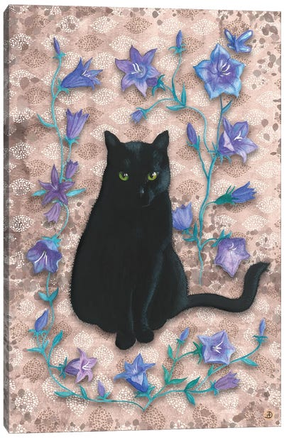 Black Cat With Bellflowers II Canvas Art Print