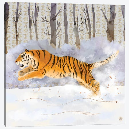 Siberian Tiger Running In The Snow Canvas Print #AEE70} by Andreea Dumez Canvas Print