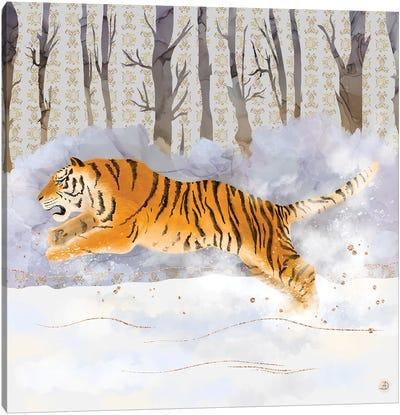 Siberian Tiger Running In The Snow Canvas Art Print