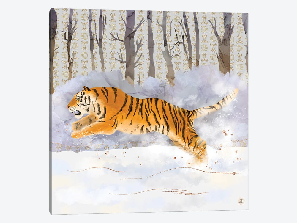 Siberian Tiger Running In The Snow by Andreea Dumez 1-piece Art Print
