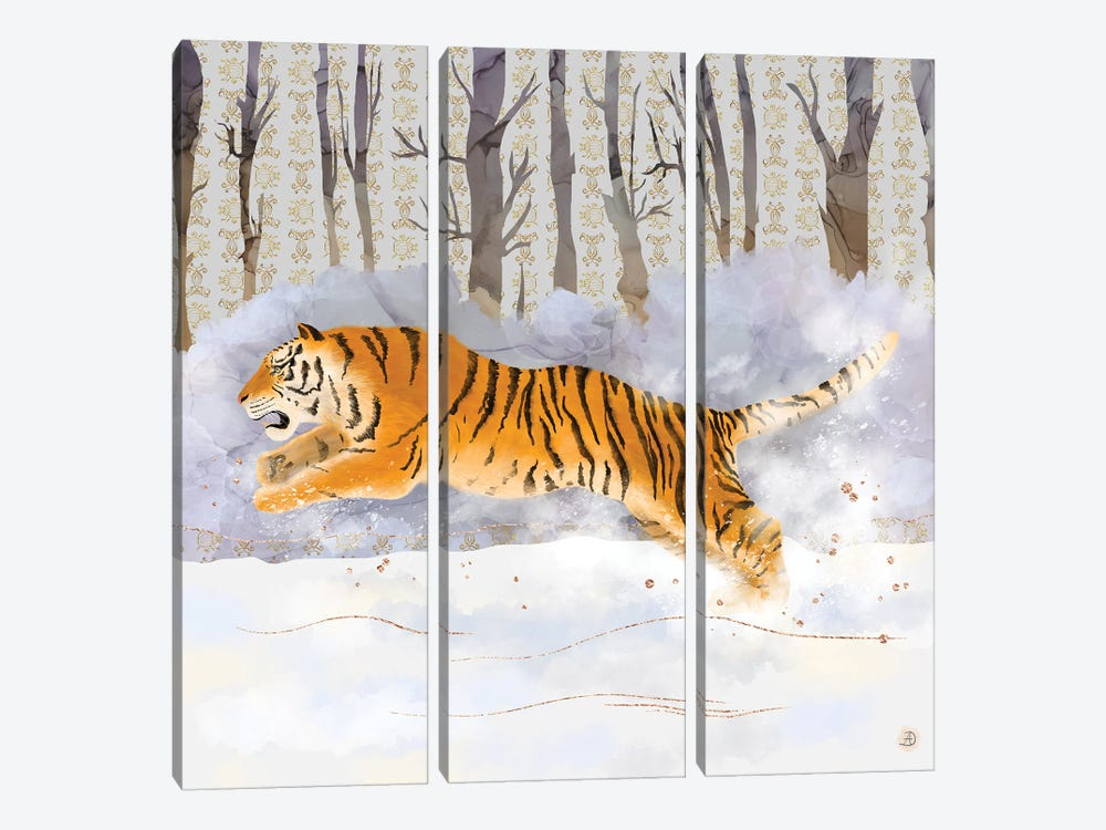 Siberian Tiger Running In The Snow by Andreea Dumez 3-piece Canvas Print
