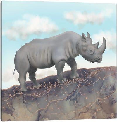 African Black Rhino Canvas Art Print