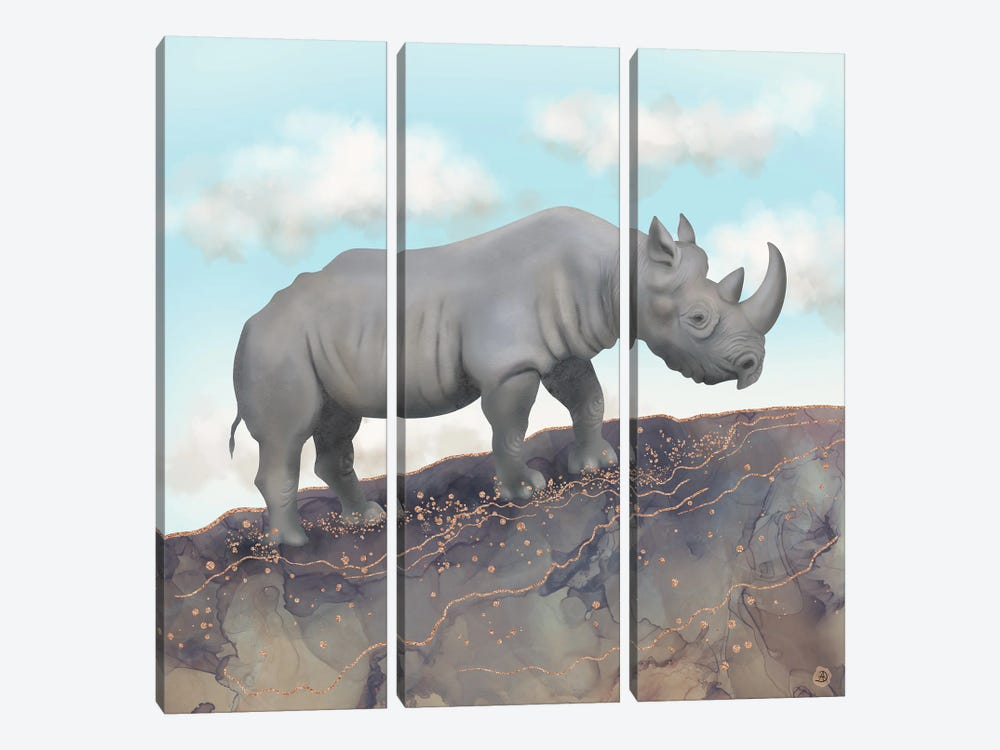 African Black Rhino by Andreea Dumez 3-piece Canvas Wall Art