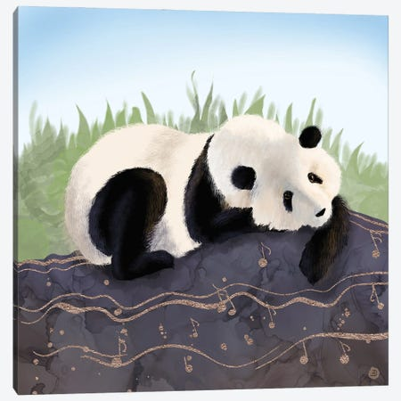 The Giant Panda Humming A Happy Song (The Musical Panda) Canvas Print #AEE72} by Andreea Dumez Canvas Print