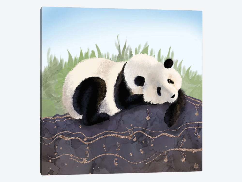 The Giant Panda Humming A Happy Song (The Musical Panda) by Andreea Dumez 1-piece Art Print
