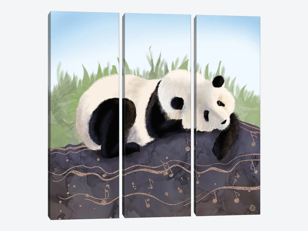The Giant Panda Humming A Happy Song (The Musical Panda) by Andreea Dumez 3-piece Canvas Art Print