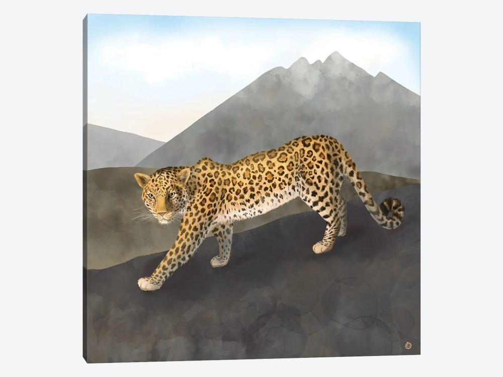 Amur Leopard In The Mountains by Andreea Dumez 1-piece Canvas Artwork