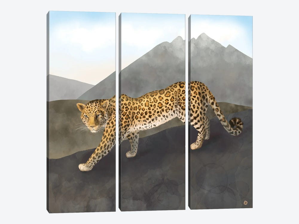 Amur Leopard In The Mountains by Andreea Dumez 3-piece Canvas Artwork